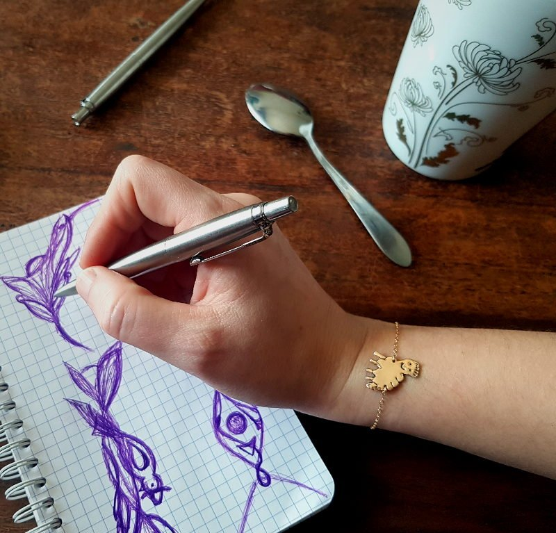 [Custom-made] Bronze women's bracelet from your child's drawing