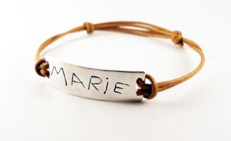 [Custom made] Silver and cord name engraved bracelet