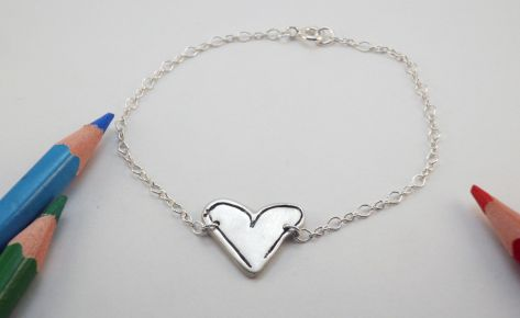 [Custom made] Women's silver bracelet from your child's drawing