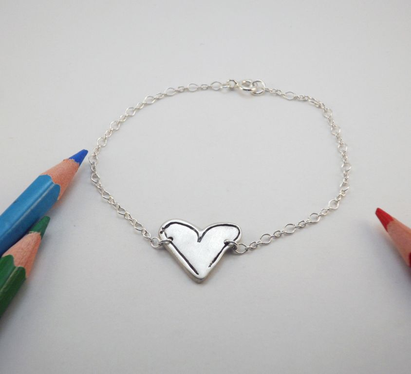 [Custom-made] Silver woman bracelet from your child's drawing