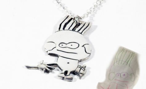[CUSTOM MADE] Men's silver pendant from your child's drawings