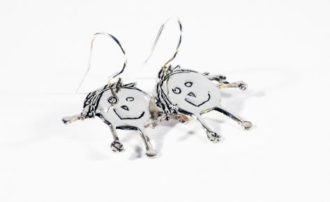 [CUSTOM-MADE] Silver earrings from your child's drawing