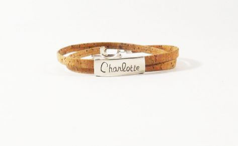 [Custom-made] Silver and cork name engraved bracelet