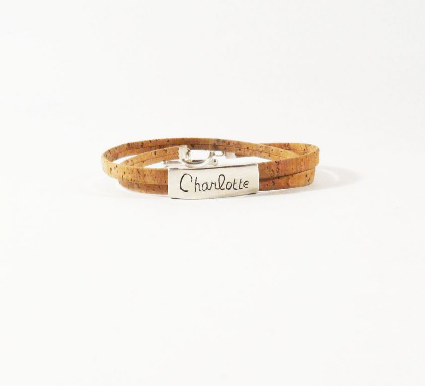 [Custom-made] Name bracelet engraved in silver and cork