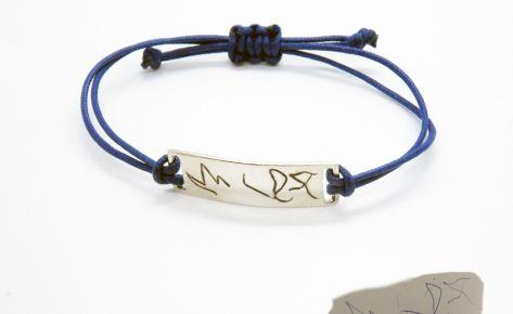 Bracelet femme ou homme gravé en argent et cordon