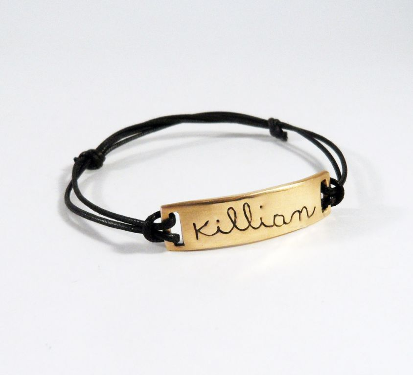 [Custom-made] Name bracelet engraved in bronze and cord