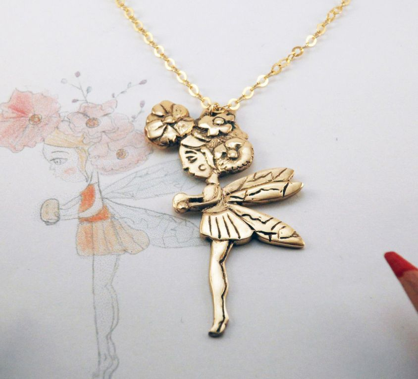[CUSTOM-MADE] Woman's bronze pendant from your child's drawing