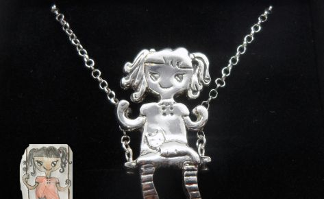[CUSTOM MADE] Women's silver pendant necklace from your child's drawing
