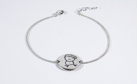 [CUSTOM-MADE] Women's silver engraved bracelet from your child's drawing