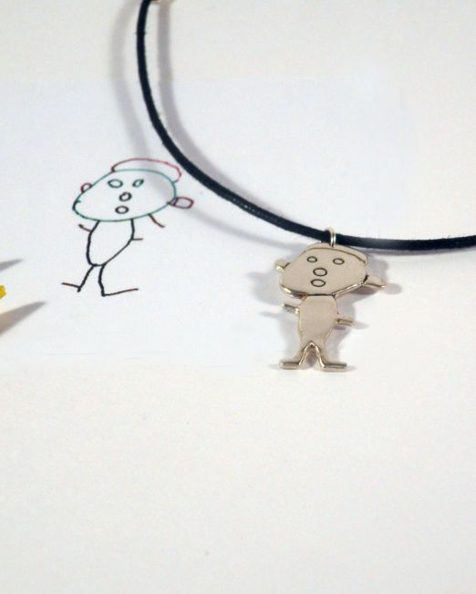 child's drawing necklace