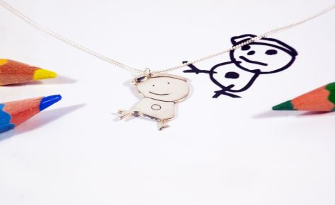 Child silver necklace from his/her drawing