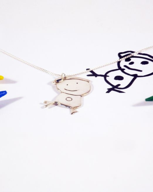 child drawing necklace