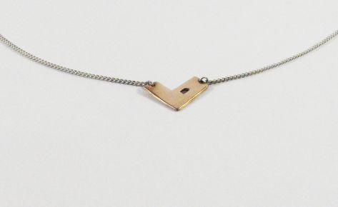 The geometric heart – women bronze necklace