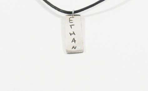[CUSTOM MADE] Men silver name necklace and cotton cord