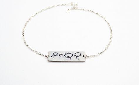 Bracelet femme gravé en argent – bracelet rectangulaire