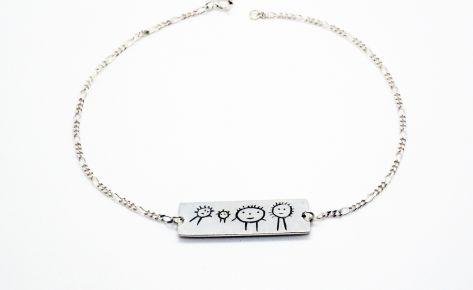 Bracelet homme gravé en argent – Bracelet rectangulaire