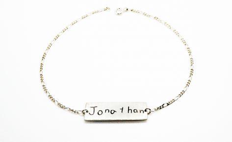Bracelet prénom gravé en argent – Bracelet homme